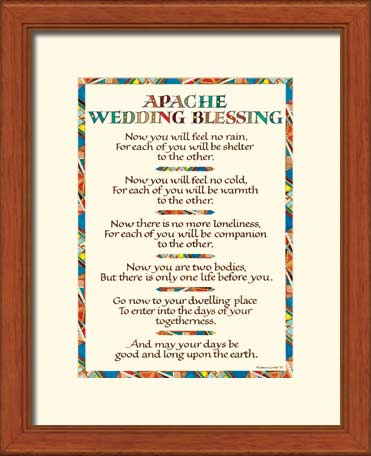 Apache Wedding Blessing Art Print Wedding Gift 11x14 Quot Framed