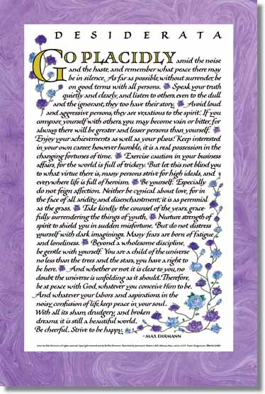 Desiderata poem Calligraphy baltimore